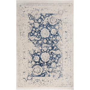 Ephesians Cream and Blue Rectangular: 2 Ft. x 3 Ft. Rug