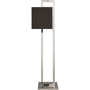 Bethune Silver One-Light Floor Lamp with Black Shade
