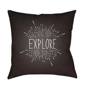 Explore II Black and White 18 x 18-Inch Throw Pillow
