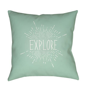 Explore II Green and White 18 x 18-Inch Throw Pillow