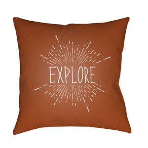 Explore II Brown and White 18 x 18-Inch Throw Pillow