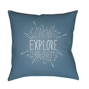 Explore II Blue and White 18 x 18-Inch Throw Pillow