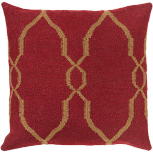 Fallon Red and Brown 22-Inch Pillow Cover