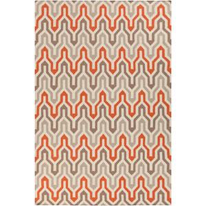 Fallon Winter White and Orange-Red Rectangular: 5 Ft. x 8 Ft. Rug