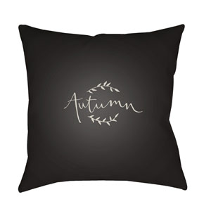 Black Fall 18-Inch Throw Pillow with Poly Fill