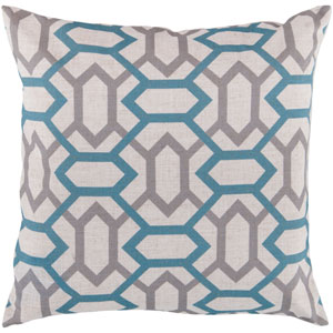 22-Inch Square Cameo Blue, Flint Gray, and Peach Cream Patterned Pillow Cover with Poly Insert