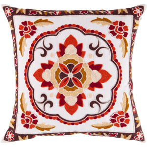 22-Inch Square Ivory Polyester Pillow Cover with Multi-Color Floral Pattern and Down Insert
