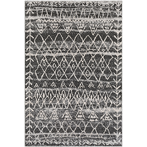 Flokati Black and Grey Rectangular: 5 Ft. 3 In. x 7 Ft. 6 In. Rug