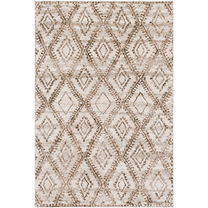 Flokati Light Grey and Brown Rectangular: 2 Ft. x 3 Ft. Rug