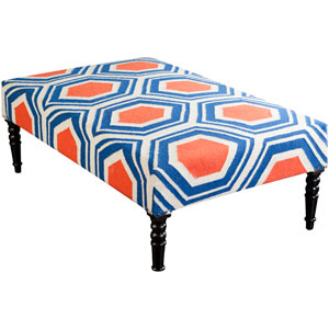 Destin Rust, Cobalt and Beige Ottoman