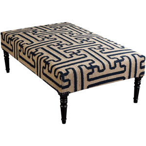 Marco Olive and Navy Ottoman