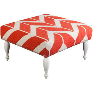 LaBelle Coral and Beige Ottoman