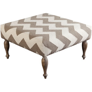 Chipley Ivory and Taupe Ottoman