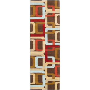 Forum Chocolate and Red Rectangular: 2 ft. 6 in. x 8 ft. Runner