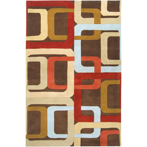 Forum Chocolate and Red Rectangular: 5 ft. x 8 ft. Rug