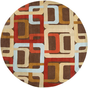 Forum Chocolate and Red Round: 8 ft. x 8 ft. Rug