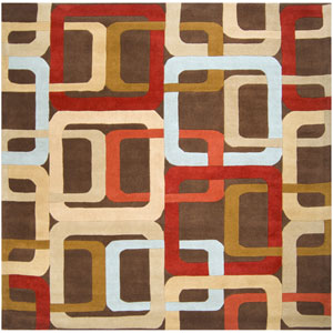 Forum Chocolate and Red Square: 8 ft. x 8 ft. Rug