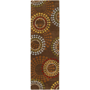 Forum Chocolate and Green Rectangular: 2 ft. 6 in. x 8 ft. Runner
