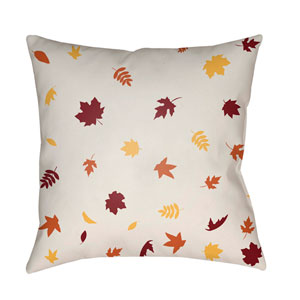 White Falling Leaves 20-Inch Throw Pillow with Poly Fill