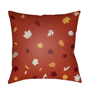 Red Falling Leaves 18-Inch Throw Pillow with Poly Fill