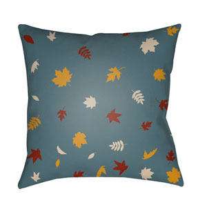 Blue Falling Leaves 20-Inch Throw Pillow with Poly Fill