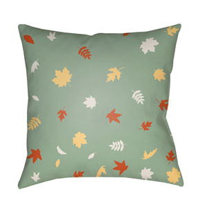 Green Falling Leaves 18-Inch Throw Pillow with Poly Fill
