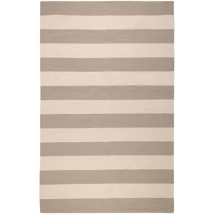 Frontier Gray and Cream Striped Rectangular: 5 Ft. x 8 Ft. Rug