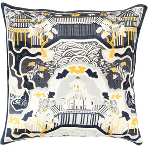 Geisha Black and Blue 22-Inch Pillow Cover