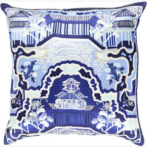 Chinoserie Charm Navy and Sky Blue 22-Inch Pillow with Down Fill