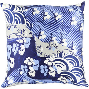 Silk Sophistication Cobalt and Sky Blue 20-Inch Pillow with Poly Fill
