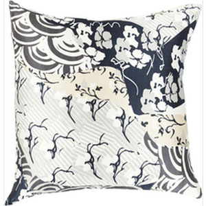 Silk Sophistication Forest and Teal 22-Inch Pillow with Down Fill