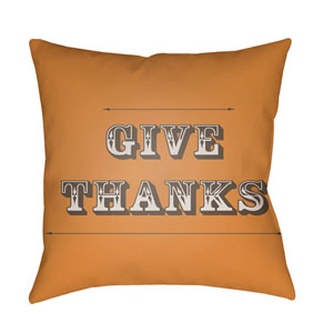 Orange Thanks 20-Inch Throw Pillow with Poly Fill