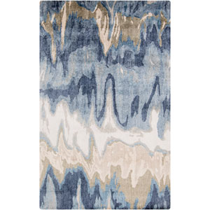 Gemini Light Gray and Navy Rectangular: 2 Ft x 3 Ft Rug