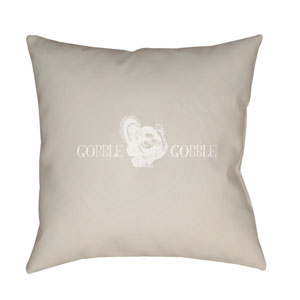Beige Gobble Gobble 18-Inch Throw Pillow with Poly Fill