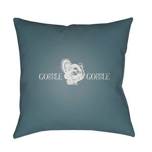 Blue Gobble Gobble 18-Inch Throw Pillow with Poly Fill