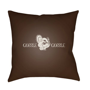 Brown Gobble Gobble 18-Inch Throw Pillow with Poly Fill