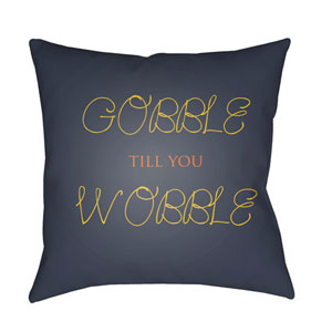Blue Gobble Till You Wobble 20-Inch Throw Pillow with Poly Fill