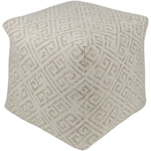 Geonna Ivory and Medium Gray Pouf