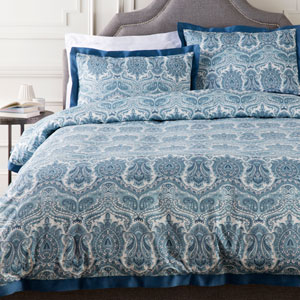 Griffin Blue Three-Piece Full/Queen Duvet Set