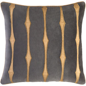 Graphic Stripe Gray and Brown 22-Inch Pillow with Down Fill