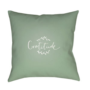 Green Gratitude 20-Inch Throw Pillow with Poly Fill