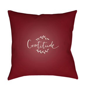 Red Gratitude 20-Inch Throw Pillow with Poly Fill
