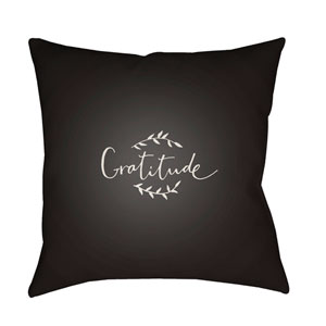 Black Gratitude 20-Inch Throw Pillow with Poly Fill