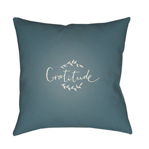 Blue Gratitude 20-Inch Throw Pillow with Poly Fill