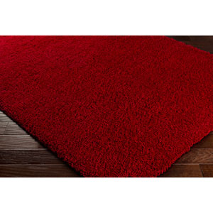Galaxy Shag Bright Red Rectangular: 6 Ft. 7 In. x 9 Ft. 6 In. Rug