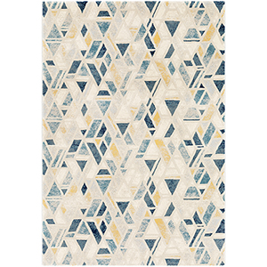 Cash Cyan and Yellow Rectangular: 7 Ft. 10 In. x 10 Ft. 3 In. Rug