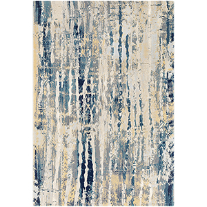 Cash Aqua and Butter Rectangular: 5 Ft. 3 In. x 7 Ft. 6 In. Rug