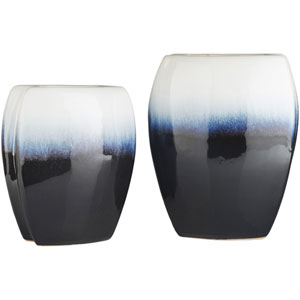 Harris Navy and White Vase, Set of Two