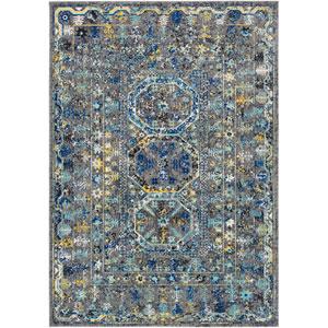 Harput Gray and Blue Rectangle: 2 Ft. x 3 Ft. Rug