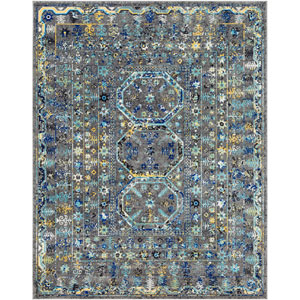 Harput Gray and Blue Rectangle: 7 Ft. 10 In. x 10 Ft. 3 In. Rug
